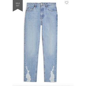 Ripped Cuff Straight Leg Jeans